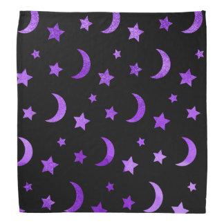 Moon & Stars Halloween Bandanna Purple