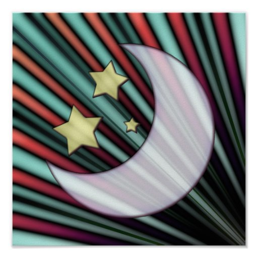 Moon, Stars, & Rising Sun Print