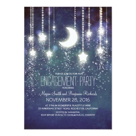Moon Stars & String Lights Engagement Party Card