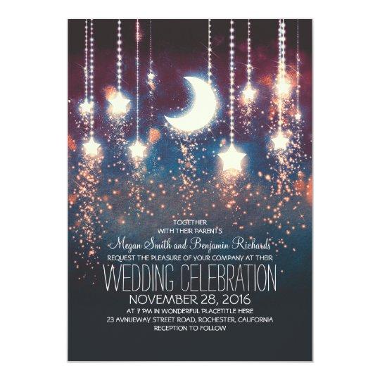Moon Stars & String Lights Summer Wedding Card