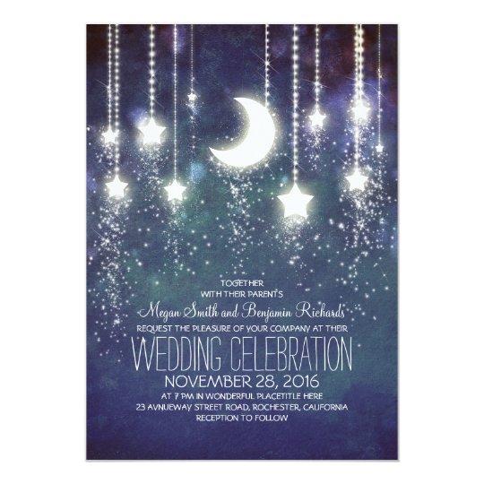 Moon Stars & String Lights Vintage Wedding Card