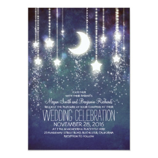 Moon Stars & String Lights Wedding Invitations