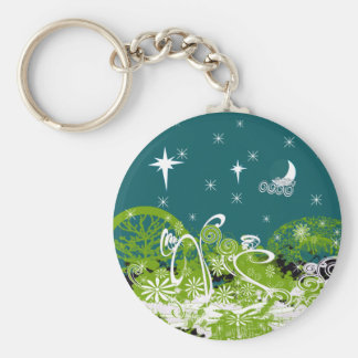 Moon Stars Swirl Paint Splat Basic Round Button Key Ring