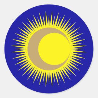 Moon suns sun moon round sticker