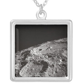 Moon Surface and Horizon Silver Plated Necklace