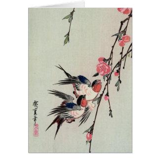 Moon, Swallows, and Peach Blossoms, Ando Hiroshige Card