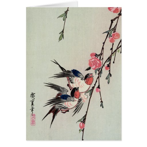 Moon, Swallows, and Peach Blossoms, Ando Hiroshige Greeting Card