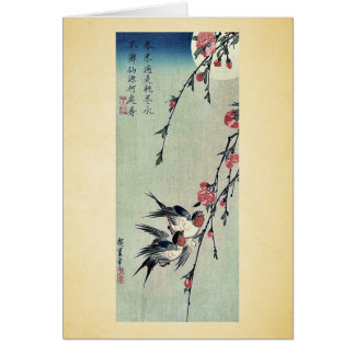 Moon,swallows and peach blossoms by Ando,Hiroshige Greeting Card