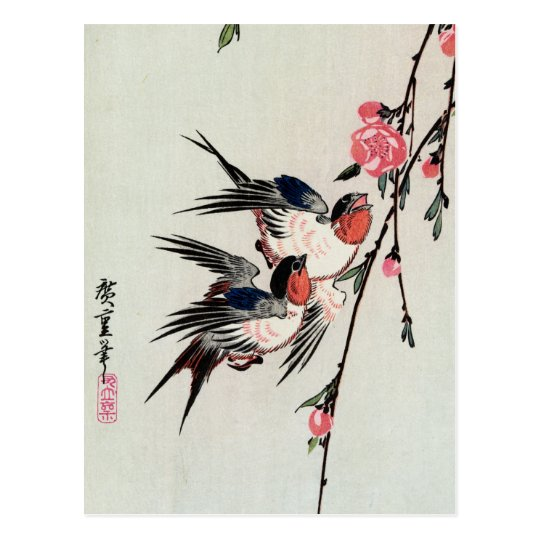 Moon, Swallows and Peach Blossoms Postcard
