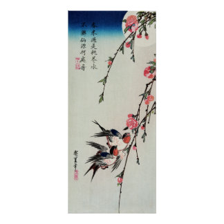 Moon, Swallows and Peach Blossoms Poster
