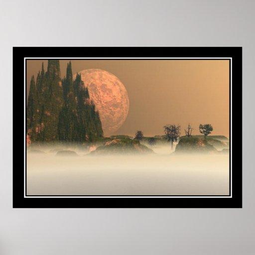 Moon trees and Mountain Print Print