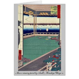 Moon viewing point by Andō, Hiroshige Ukiyo-e. Greeting Card