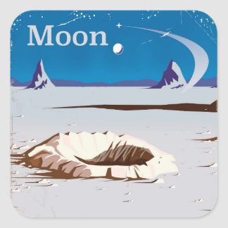 Moon - vintage Sci-fi travel poster Square Sticker