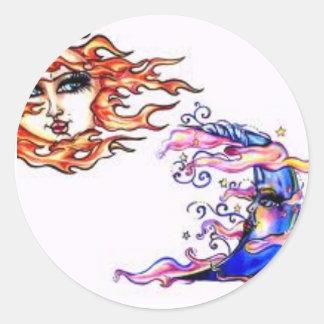 Moon Vs. Sun Round Sticker