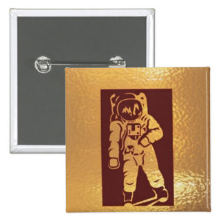Moon Walk :  Astronaut Space Research 15 Cm Square Badge