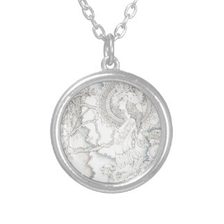 moon watching round pendant necklace