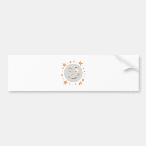 Moon Wink Bumper Stickers