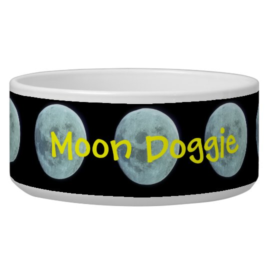 Moon with custom name dog bowl