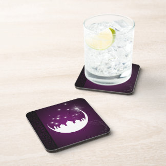 Moon with Mosque Silhouette - Plastic Coaster