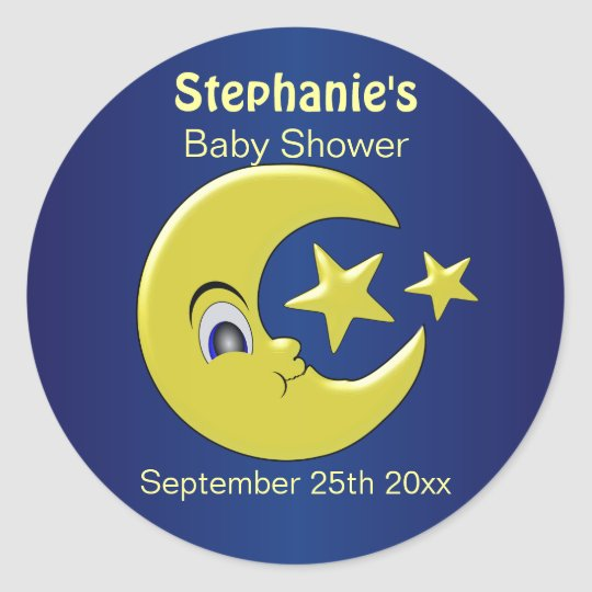 Moon With Stars Personalised Baby Shower Classic Round