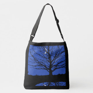 Moon with Tree, Cobalt Blue, Black and White Crossbody Bag