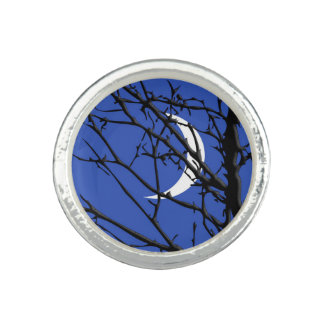 Moon with Tree, Cobalt Blue, Black and White Ring
