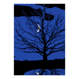 Moon with Tree, Cobalt Blue, Black and White Posters