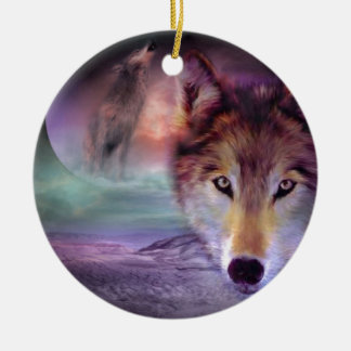 Moon Wolf Christmas Ornament