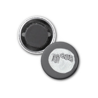 Moon Word Drawing 3 Cm Round Magnet