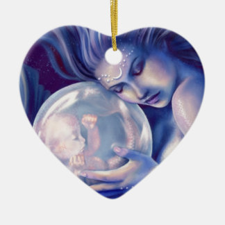 Moonborn - Mermaid and Baby Ceramic Heart Decoration