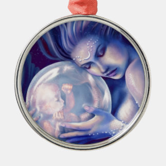 Moonborn - Mermaid and Baby Silver-Colored Round Decoration