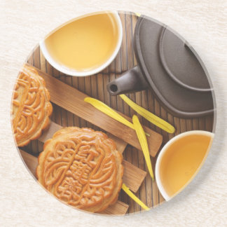 Mooncake and tea,Chinese mid autumn festival 2 Coaster