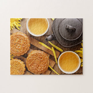 Mooncake and tea,Chinese mid autumn festival 2 Jigsaw Puzzle
