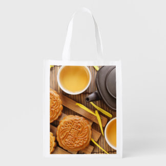 Mooncake and tea,Chinese mid autumn festival 2 Reusable Grocery Bag