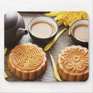 Mooncake and tea,Chinese mid autumn festival Mouse Mat