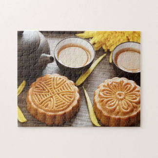 Mooncake and tea,Chinese mid autumn festival Puzzles
