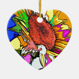 Moonflower Psychedelic Design Ceramic Heart Decoration