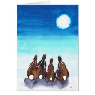 MOONGAZING HARES GREETING CARD