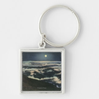 Moonlight Above the Clouds on Mount Washington Silver-Colored Square Key Ring