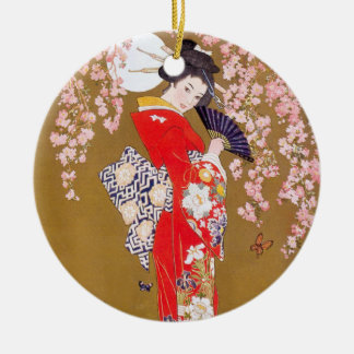 Moonlight and Cherry Blossoms Round Ceramic Decoration