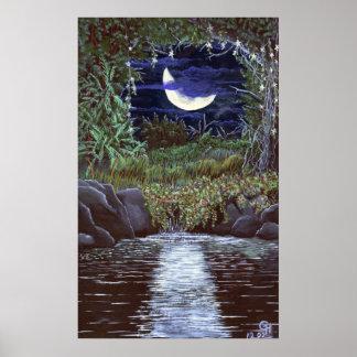 Moonlight Falls Acrylic Painting Art Print