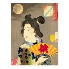 Moonlight Geisha Japanese Woodblock Ukiyo-e Postcard