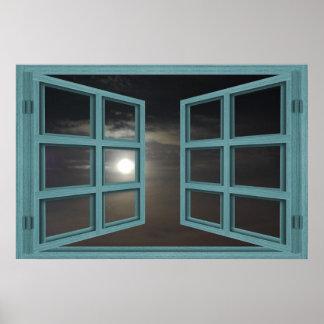 Moonlight Green Wood 6 Pane Open Window Poster