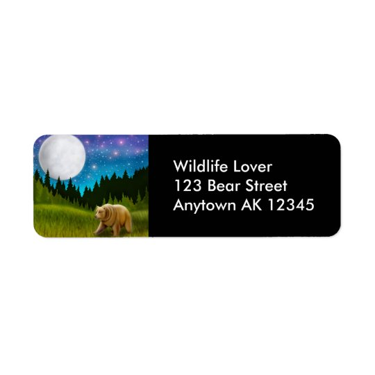 Moonlight Grizzly Bear Label Return Address Label