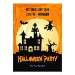 Moonlight Haunted House in Graveyard - Halloween Invitations