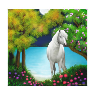 Moonlight Horse Wrapped Canvas Stretched Canvas Print