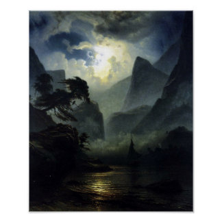 Moonlight – landscape – Noweigan-fjord- Poster