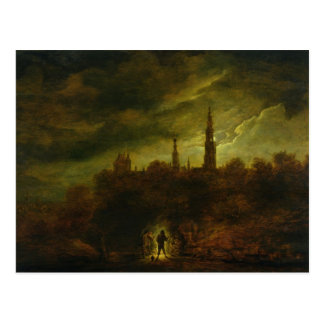 Moonlight Landscape Postcard
