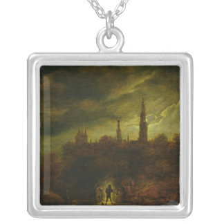 Moonlight Landscape Silver Plated Necklace