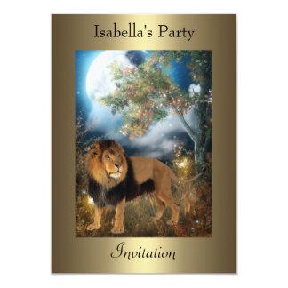Moonlight Lion Night on Bronze Party 13 Cm X 18 Cm Invitation Card